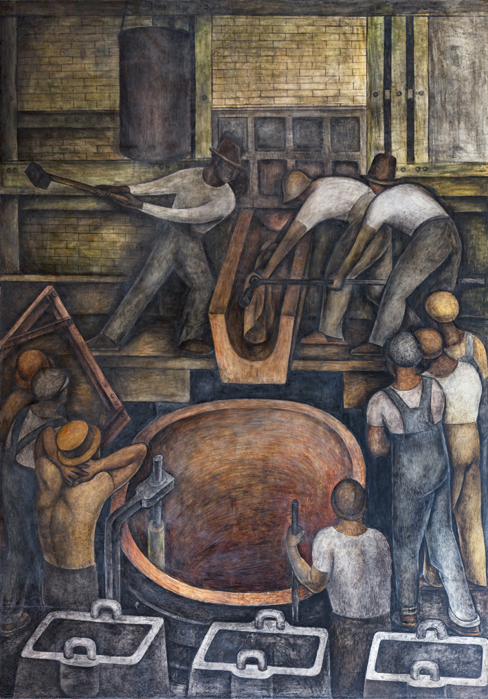 La fundición. Diego Rivera, 1923. Fresco 4.75 x 3.36 m