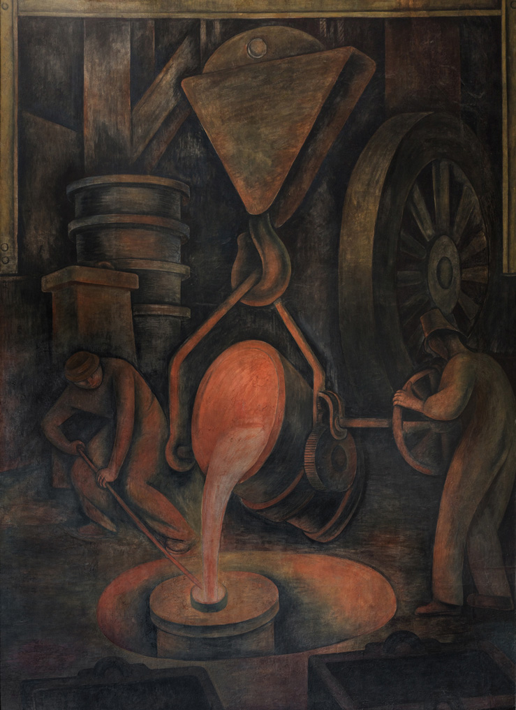 La fundición. Diego Rivera, 1923. Fresco 4.37 x 3.14 m